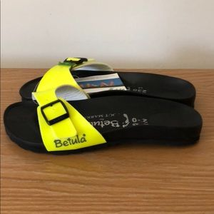 Betula Black Yellow Foot Marks Slide Sandals 5 36 Boutique